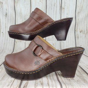 Born Brown Leather Slide Clogs Mules